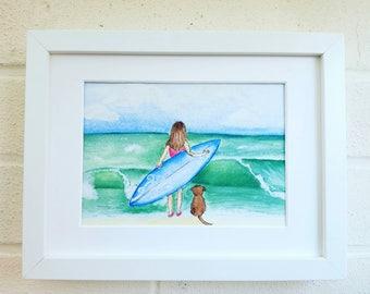 Surfer beach decor print framed surf art Surfing ocean  home decor wall decor gift idea
