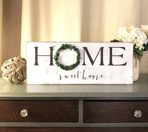 Home Sweet Home Wood Sign Wreath Decor Hanging Wooden Sign