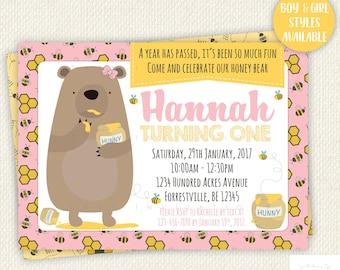 First Birthday Invitation, Bear Birthday Invitation, Cub, Woodland party, One, Honeybee, Digital, Printable, Girl, Boy, bee