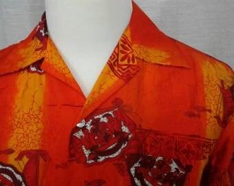 Vintage Hawaiian Shirt - Tropicana Orange Boats Aloha Print Button Down Short Sleeve - Tiki Party - 1970s 1980s
