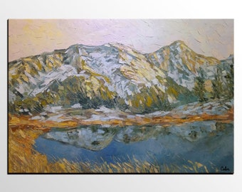 Oil Painting, Canvas Art, Extra Large Art, Modern Art, Original Art, Abstract Art, Canvas Painting, Living Room Wall Art, Mountain and Lake