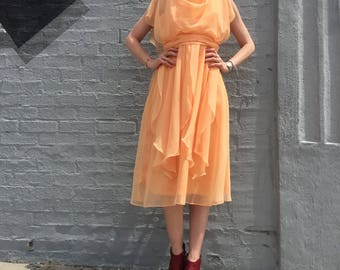vintage 60s peach chiffon prom spring fitted flowy goddess party dress size small to medium