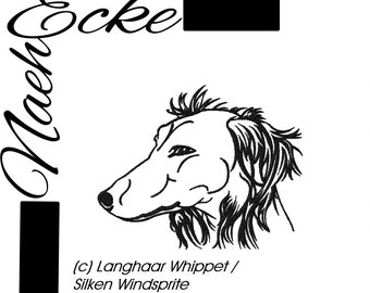 Embroidery File  Whippet Nr. 4 Longhaired Silken Windsprite