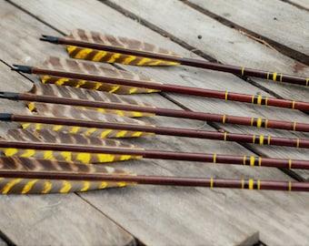 Archery arrows, 6 vintage wood arrows. 55-60 # arrows, weight matched arrows