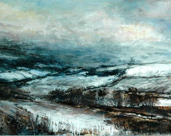 Snow Winter Landscape Signed Limited Edition Collectable Art Print from Original Oil Landscape Painting