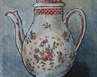 ACEO original 6 painted teapot