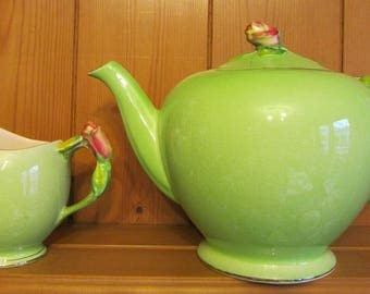 Vintage Royal Winton Grimwades Rosebud Teapot and Creamer English China Teaset Green Pink Gold Roses 1930s