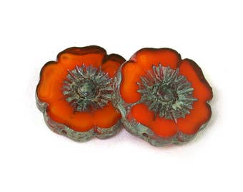 Orange opaline w/ picasso large 22mm Hawaiian hibiscus flower bead with detailed design. Set of one or 4.