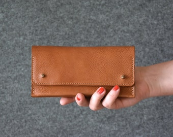 Leather Clutch - Camel Brown - Womens Wallet, Clutch Bag, Leather Purse, Leather Pouch, Gift For Her