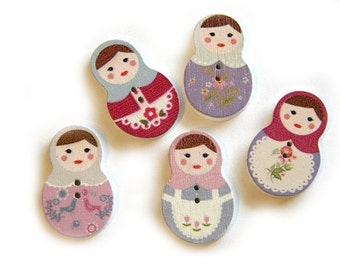 6 Wooden Russian Doll Buttons