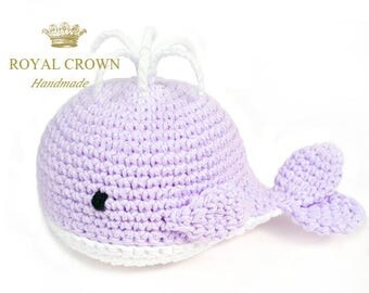 Stuffed Whale Crochet Whale Party Decorations Whale Baby Toy Whale Toy Whale Plush Whale Stuffed Animal Whale Baby Shower Purple White