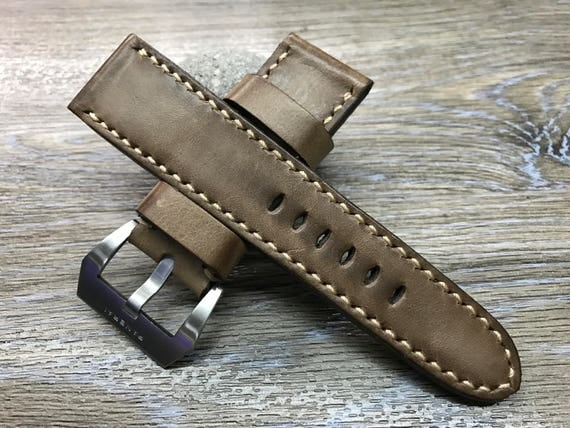 26mm watch strap, Leather watch band, handmade leather watch strap, Leather watch Band for Panerai, 26mm watch band, PAM 44mm, 47mm size