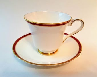Minton Saturn Ruby Crimson Fine Bone China Cup And Saucer Royal Doulton England Deep Red With Gold Trim Footed Cup 1983