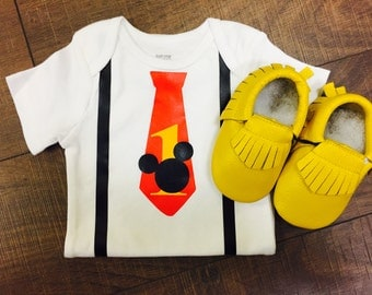 Mickey Mouse Tie and Suspenders First Birthday Onesie