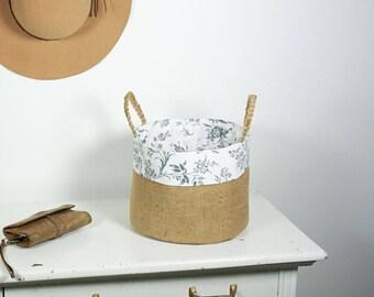 Burlap Storage Basket, Storage Basket, Basket, Storage, Storage Bin, Fabric Bin, Storage Tote, Tote, kids storage, clothing storage