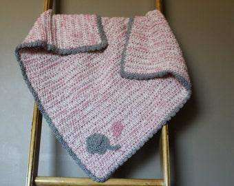 Crochet Baby Blanket Pink/Gray