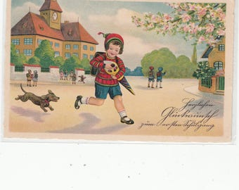 Little Boy On His Way To School With His Dachshund Dog Chasing Him, Vintage Postcard