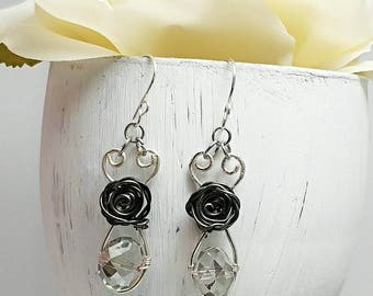 Wire wrapped earrings, Silver Wire wrapped earrings, Wire jewelry, Wire rose earrings, Rose earrings, Mixed metal earrings, Unique wire drop
