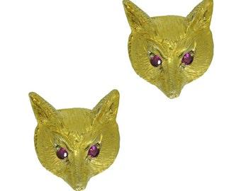 Gold Fox Head Earrings