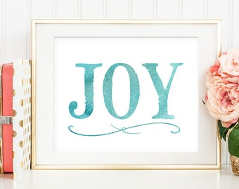 75% OFF SALE - Christmas Printable - 8x10 Joy Printable, Christmas Decor, Christmas Wall Art, Affordable Art, Christmas Typography, Winter