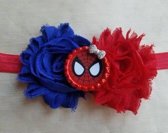 Spiderman headband. Newborn infant toddler girl teen adult.