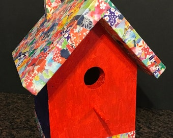 Birdhouse - Colorful Hand Decorated