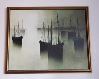 """Mid-Century Dark Boats in Harbor Painting 24"""" by 30"""""""
