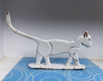 Vintage Cast Iron Cat Boot Scraper in White. Circa Turn of the Century