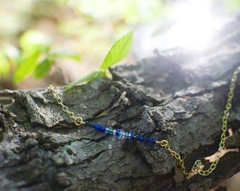 Blue Jay Beaded Bar Necklace