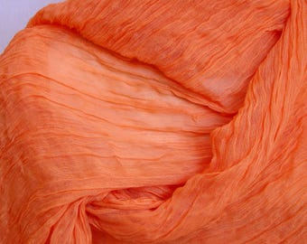 Orange scarf, soft and light summer scarf. women's oversize rayon scarf.