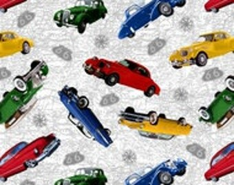 Blank Quilting - Fabric - Route 66 - White background with all over cars on a map - Cotton - Sold by the yard