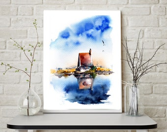 Fine Art Print, Geclee print, Country House, Blue Lake Water and Blue Sky, Art Print from watercolor painting, Landscape Wall art