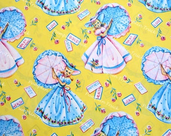 Vintage Wrapping Paper - 1940s Southern Belles with Umbrellas Shower on Yellow - Full Unused Sheet