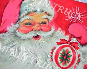 Vintage Christmas Card  -  Pink Santa and Ornament - Unused