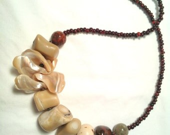 Earthy Primitive Necklace Stone Coral Shell Tagua Nut Eco Tribal Exotic Ethnic Choker Minimal Natural