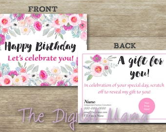 Business Birthday Postcard - Business Birthday Scratch Off Card - Business Prize Card Package - Personalized Business Birthday Post Cards
