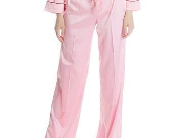 50s' Vintage Preppy Silk Pajamas Sleepwear Pants Slack* Pink Ivory