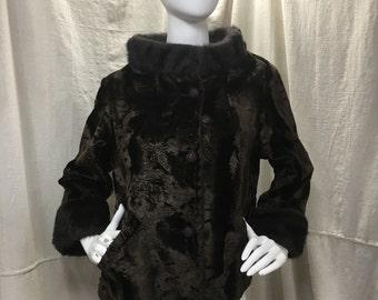 Vintage Brown Smoke Ring Jacket Fur Collar 50s 60s Bracelet Sleeve Velvet Coat Women's Medium Winter