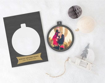 Holiday Christmas Photo Card Ornament - LUX POP OUT - Be Merry
