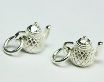 2pcs 925 Sterling Silver Jewellery findings Charm Beads ,Teapot charm,8.5*10.5mm - FDSSB0442