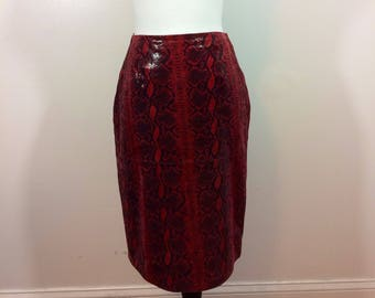 NINA RAYNOR DELRAY Beach leather red snakeskin pencil skirt work wear mood retro genuine leather size 6