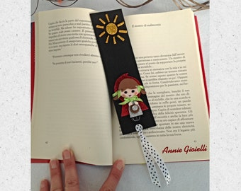 Bookmark little Red Riding Hood-Bookmark fairy Bookmark Sun-Bookmark bimba-Gift Idea-Bookmark black-accessories books