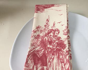 Toile dinner napkins size 17 by 21 inches