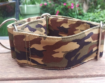 "Martingale Collar - Whippet, Greyhound, small to medium dog - 1.5"" and 2"" - Camouflage"