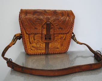 Vintage 60's Tooled Leather Purse - 1960's 1970's Hand Tooled Brown Leather Shoulder Bag