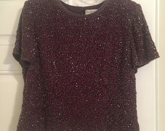 Purple Beaded Top by Adrianna Papell