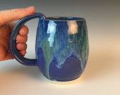 Blue Handmade Pottery Mug, Handmade, Pottery mug, coffee mug, 16oz, coffee cup, large mug