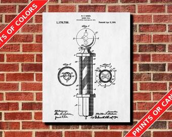 Barber Pole Patent Print Barber Poster Blueprint Art Barber Patent Barber Gift