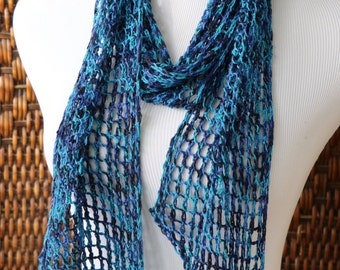 Openwork skinny scarf, blue turquoise merino wool and silk scarf, drapey knit scarf