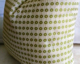 Green Ivory Pillow Cover Geometric Circles 18x18 20x20 CLEARANCE!